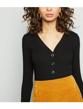 Black Button Front Ribbed Long Sleeve Top by New Look