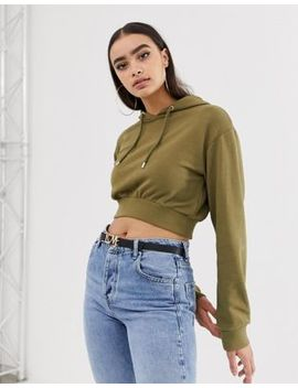 Asos Design Super Crop Hoodie In Khaki by Asos Design
