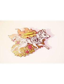 Preorder Floral Wolf Goddess Amaterasu Okami Hard Enamel Pin by Etsy