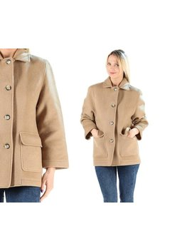 Beige Wool Mini Coat Vintage 1970s Beige Jacket Autumn Spring Waterproof Coat Button Up Pea Coat Outerwear Hipster Girlfriend Wear . Large by Etsy