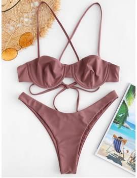 Zaful High Cut Criss Cross Bikini Set   Rosy Finch S by Zaful