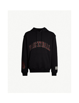 Bead Embellished Cotton Jersey Hoody by Basketball Skateboards