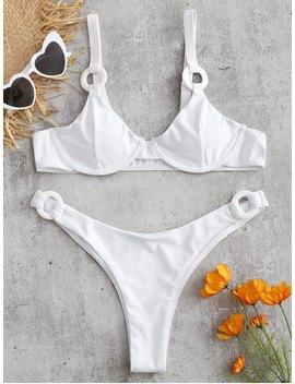Underwire Ring Embellished Bikini Set   White M by Zaful
