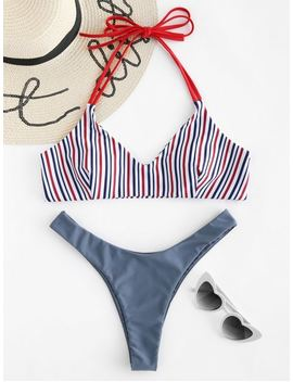 Halter Striped High Cut Bikini Set   Marble Blue M by Zaful
