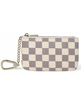 Daisy Rose Luxury Checkered Key Chain Pouch | Pu Vegan Leather Coin Purse With Clasp by Daisy Rose