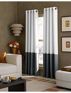 Curtainworks Kendall Color Block Grommet Curtain Panel, 95 Inch, White / Dark Grey by Curtainworks