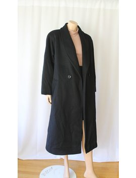 Minimalist Black Wool Midi Coat, Wool Winter Coat, Designer Oversized Shawl Collar Coat, One Size by Etsy