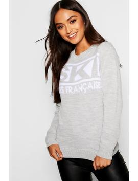 Petite Ski Slogan Novelty Jumper by Boohoo