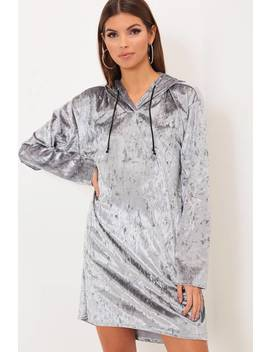 Grey Velvet Hooded Dress by I Saw It First