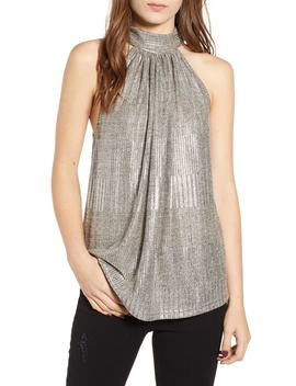 Bishop + Young Hi Shine Metallic Tie Neck Tank Top by Bishop And Young