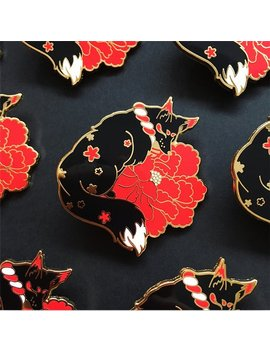 Kitsune Hard Enamel Pin by Etsy