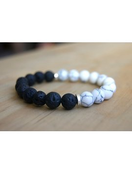Lava Bead And Howlite Beaded Gemstone Bracelet   Unisex Lava Rock Bracelet   Essential Oil Diffuser Beads by Etsy