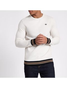 Cream Wasp Embroidered Tipped Sweatshirt by River Island