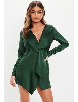 Green Satin Wrap Shift Dress by Missguided
