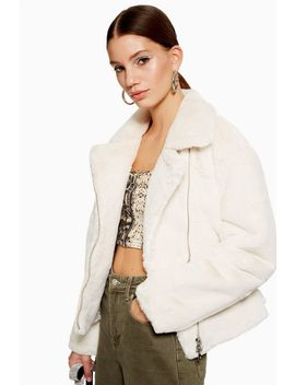 Tall Fux Fur Biker Jacket by Topshop