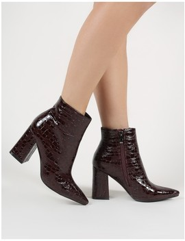 Hollie Pointed Toe Ankle Boots In Burgundy Croc by Public Desire