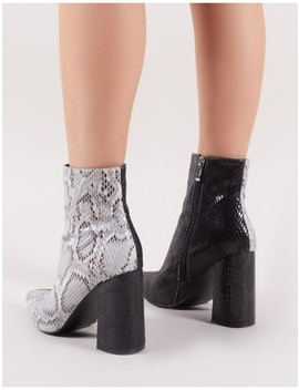 Hyper Two Tone Pointed Toe Ankle Boots In Black And White Snake by Public Desire