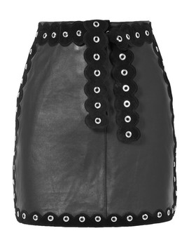 Embellished Suede Trimmed Leather Mini Skirt by Maje