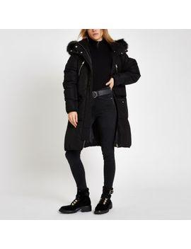 Black Faux Fur Trim Longline Puffer Jacket by River Island