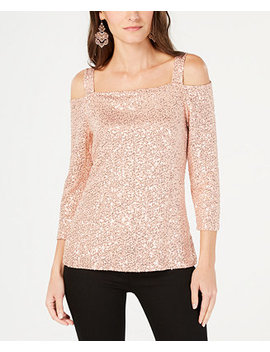 I.N.C. Sequined Cold Shoulder Top, Created For Macy's by Inc International Concepts