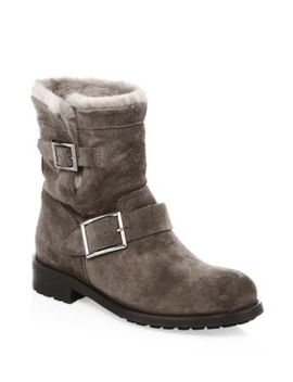 Youth Suede & Shearling Ankle Boots by Jimmy Choo