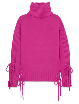 Lace Up Wool And Cashmere Blend Turtleneck Sweater by Mc Q Alexander Mc Queen