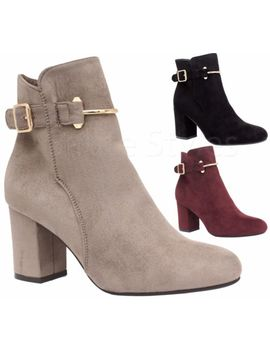 Ladies Womens Mid High Block Heels Buckle Casual Chelsea Ankle Boots Shoes Size by Ebay Seller