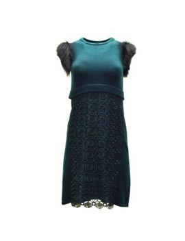 Nwt Sportmax Green Knit Lace Overay Fur Trim Sweater Dress Sz S 140014 Mm by Sportmax