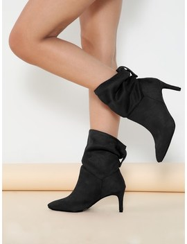 Fold Over Shaft Pointed Toe Stiletto Heel Boots by Sheinside