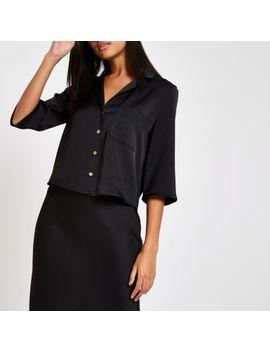 Black Button Crop Shirt by River Island