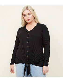 Curves Black Button Tie Front Top by New Look