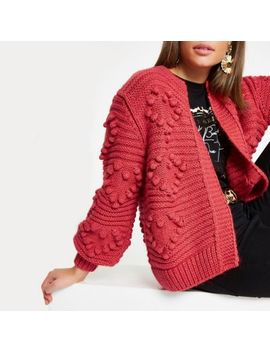 Red Heart Bobble Chunky Knit Cardigan by River Island