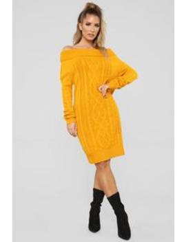 Warm All Over Sweater Dress   Mustard by Fashion Nova