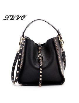 Genuine Leather Famous Brand Rivet Crossbody Bags For Women Messenger Shoulder Bag Luxury Handbags Women Bags Designer Female by Luyo