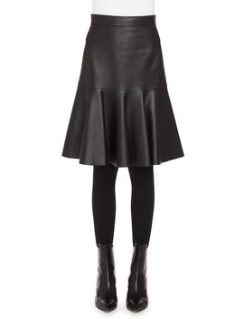 Ruffled Hem Leather Skirt by Akris Punto