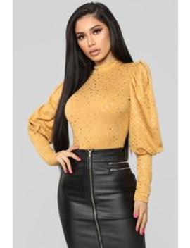 Straight Star Bright Bodysuit   Mustard by Fashion Nova