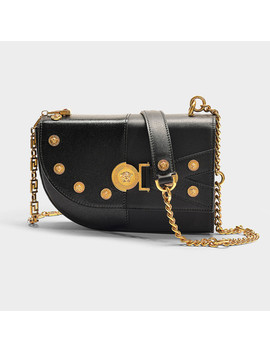 Clash Bag Small In Black Calfskin by Versace