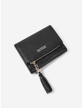 Tassel Detail Zipper Purse by Sheinside