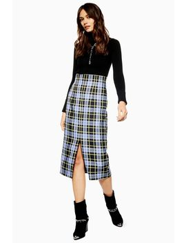 Pencil Check Midi Skirt by Topshop