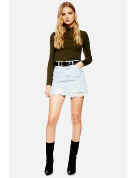 Asymmetric Bleach Denim Skirt by Topshop