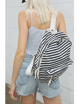 Navy And Cream Stripe Backpack by Brandy Melville