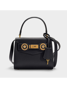 Mini Top Handle Icon Bag In Black Calfskin by Versace