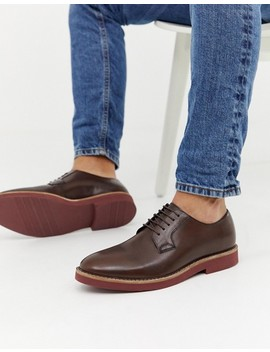 Asos Design Lace Up Shoes In Brown Leather With Chunky Brick Sole by Asos Design