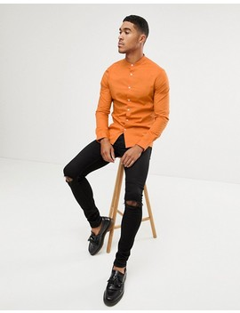 Asos Design Skinny Shirt With Grandad Collar In Orange by Asos Design