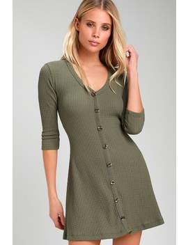 Splendid Style Olive Green Button Front Knit Swing Dress by Lulus