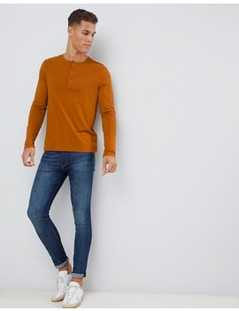 Asos Design Long Sleeve T Shirt With Grandad Neck In Brown by Asos Design