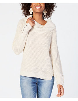 Juniors' Lace Up Cowl Neck Sweater, Created For Macy's by American Rag