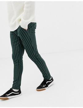 Only & Sons Drawstring Jogger With Vertical Stripe In Green by Only & Sons