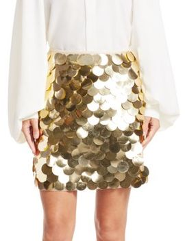 Metallic Pailette Mini A Line Skirt by Sara Battaglia