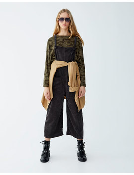 Corduroy Culotte Dungarees by Pull & Bear